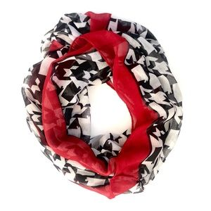 Black, white & red houndstooth infinity scarf NWT